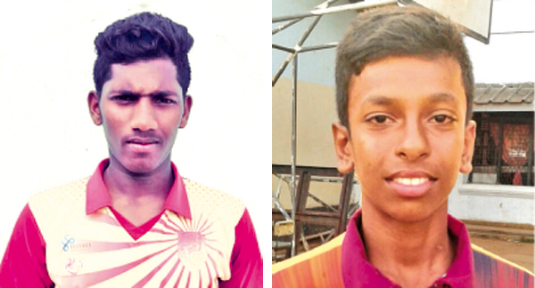 Moratu Vidyalaya pair Nishan Madhushka (L) - (178) and Rashan Fernando (11/65) who shone against Zahira.