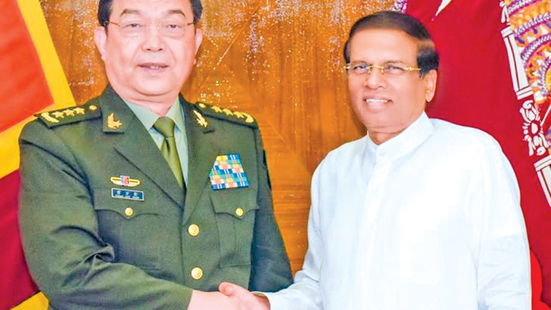 President  Sirisena with General  Chang Wanquan