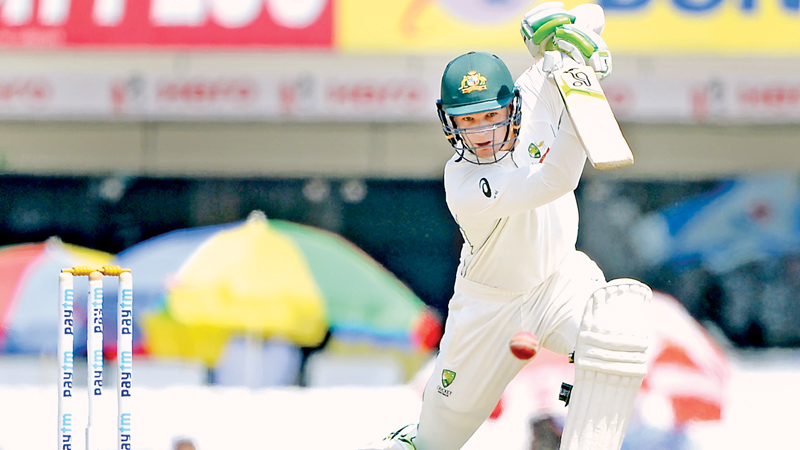 Australian batsman Peter Handscomb plays a shot during the fifth day of the third cricket Test match between India and Australia at the Jharkhand State Cricket Association (JSCA) Stadium complex in Ranchi on March 20. AFP