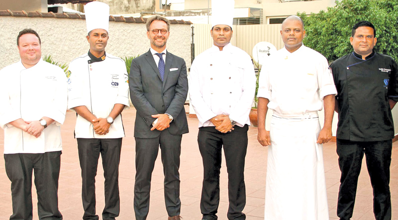 (From Left) Chef Adam Gaunt Evans (Galle Face Hotel), Sanjaya Marasinghe (Executive Chef OZO Kandy), Ambassador of France Jean Marin Schuh, Ananda Samarakoon Bandara (Leopard d' Argent Kandy), Manjula Wickrama (Executive Chef Taj Samudra) and Buddhika Samarasekera (Executive Chef Waters Edge) Pictures by Sulochana Gamage