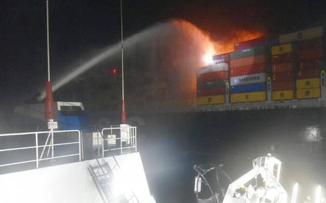 Commercial ship catches fire off Sri Lanka coast, situation under control