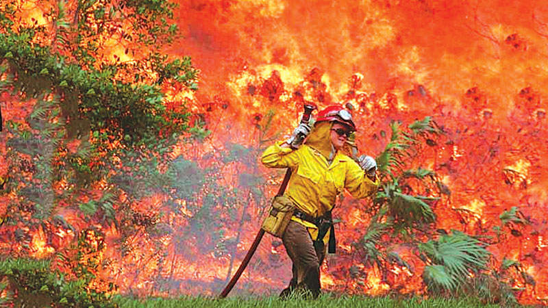 A lone firefighter feeling the heat in an attempt to fight the inferno.