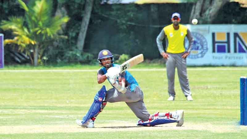 Colombo captain Dinesh Chandimal hits to leg during his knock of 76 against Kandy in the Super Provincial limited-over match played at the NCC grounds yesterday.