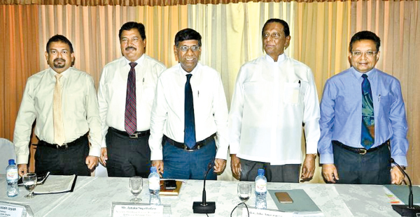 Tourism Development Authority Director General Malraj Kiriella, PATA Sri Lanka Chapter   Chairman Hussain Jayah, Christian Affairs and Tourism Ministry Secretary Janaka Sugathadasa,  Christian Affairs and Tourism Minister John Amaratunge and Sri Lanka Tourism Promotion Bureau Managing Director Sutheash Balasubramaniam at the launch. Picture by Vipula Amarasinghe