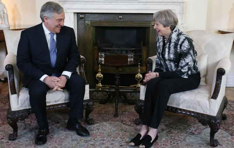 British Prime Minister Theresa May during a recent meeting with European Parliament Chief Antonio Tajani.