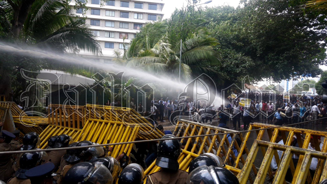 Police use tear gas and water cannons on Anti-SAITM protesters
