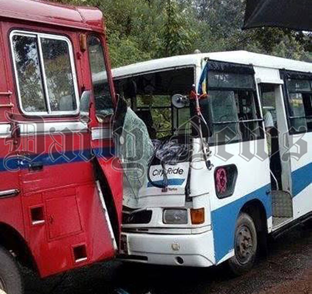 Ten passengers injured in bus collision