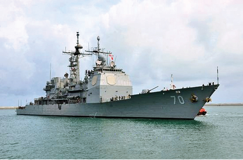 USS 'Lake Erie' at Colombo Port to support relief efforts