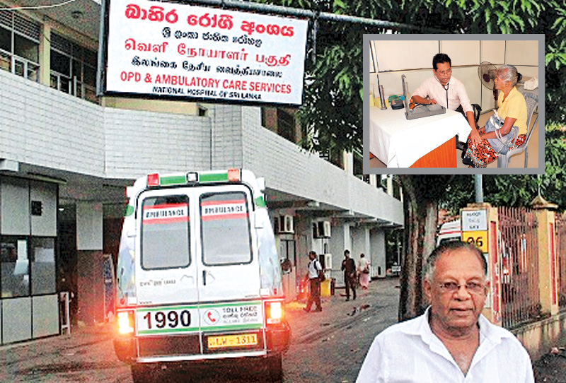 An ambulance is seen reversing from the OPD of the National Hospital, Colombo after authorities refused to treat the patient due to the ongoing strike, while a doctor in Pulathisigama stands firm in his commitment to the Hippocrates Oath. Pictures by Sudam Gunasinghe and Gamini Obeysekara
