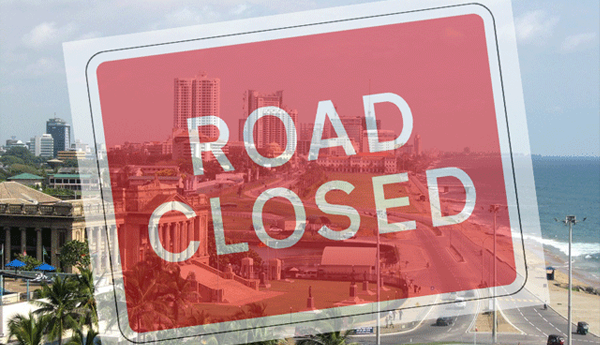 Galle road closed due to protest