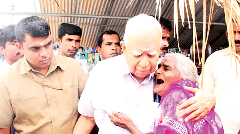 Sampanthan meets relatives of missing persons in Kilinochchi