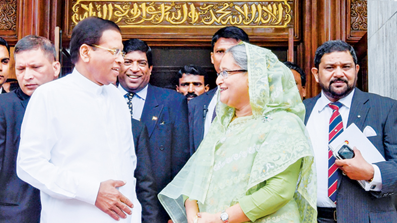 President Maithripala Sirisena and Bangladeshi Prime Minister Sheikh Hasina at the latter's office in Dhaka.