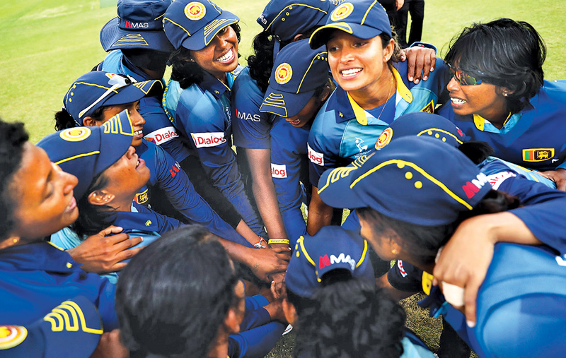 Sri Lanka Women cricketers celebrate their win over Pakistan Women in their final Women's World Cup match played at Leicester on Saturday.