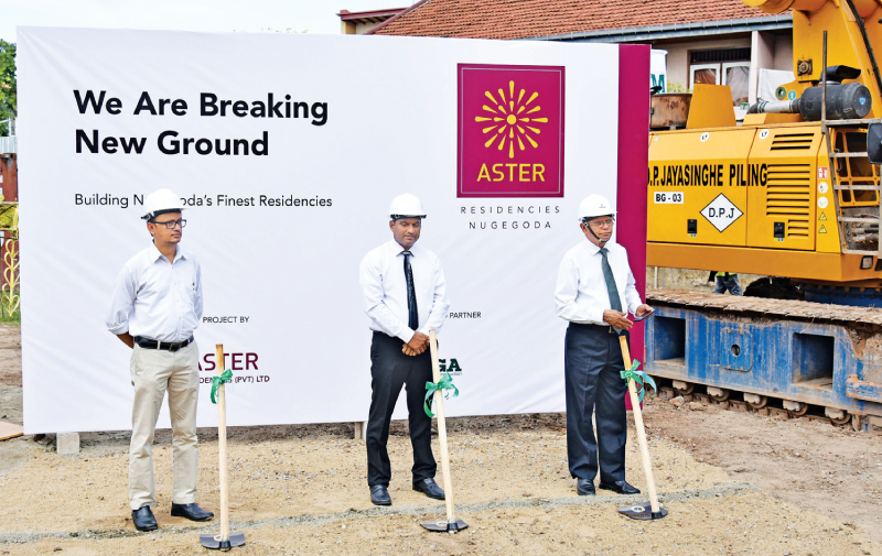 Principal Architect of OENS Design Studio Nihantha Munasinghe, Chief Executive Officer of Aster Residencies (Pvt) Ltd Chandima Anton Dilruk & Chief Executive Director of Mäga Engineering M. Piyadasa at the ground breaking ceremony