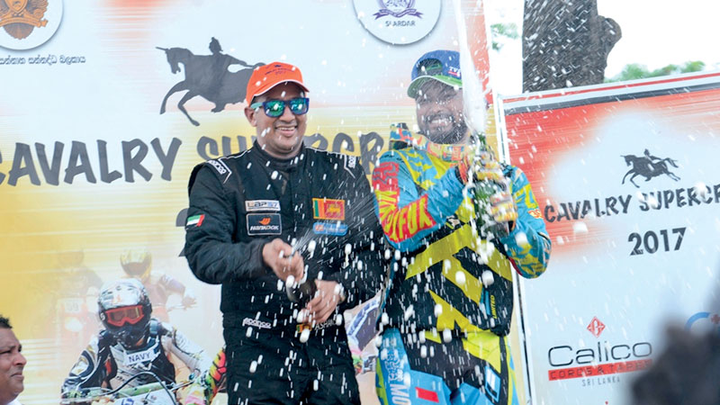Best Drtiver Ashan Silva and Best Rider Ishan Dasanayaka celebrating their victory.  Pix by Rukmal Gamage