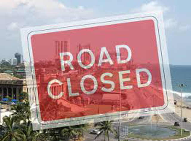 Lotus road closed owing to a protest