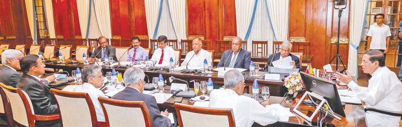 President Maithripala Sirisena chaired the first meeting of the newly formed National Economic Council (NEC) at the Presidential Secretariat yesterday. Prime Minister Ranil Wickremesinghe, Ministers and other officials were present