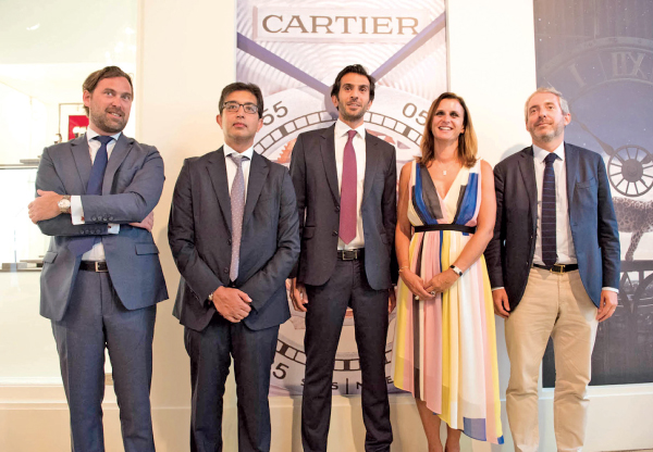 Business Development Director at Cartier Jean Baptiste Tardy, Directors at Hirdaramani Group Vinod Hirdaramani and Siddharth Hirdaramani, Marketing and Communication Director at Cartier Sophie Doireau and Regional Managing Director at Cartier for Middle East, India and Africa , Guillaume Alix.