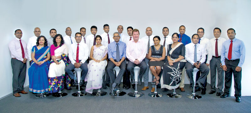 The graduating batch of the Leadership Programme together with the Head of Human Resources – Subanie Ekanayake, CEO and Managing Director - Dr. Sanjeev Jha and International Advisor for Fairifax Financial Holdings - Simon Lee.