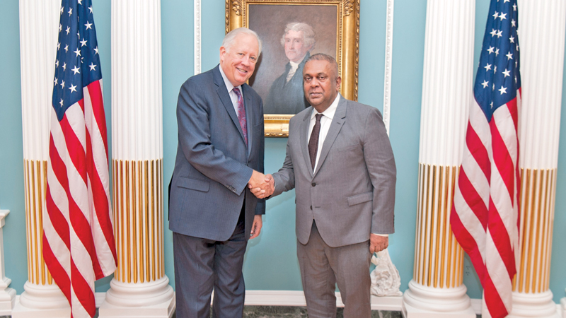 Minister Mangala Samaraweera with US Under Secretary for Political Affairs Ambassador Thomas Shannon