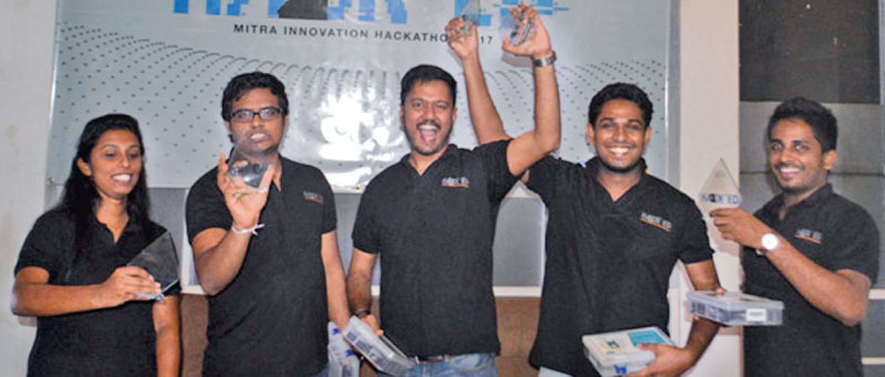 Team 'Alfred' celebrates their victory at Hack'ed 2017