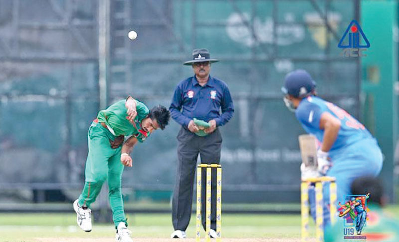 Action in the Bangladesh v India Asia Youth Cup under 19 match played in  Malaysia on Tuesday. Bangladesh stunned India winning by eight wickets to  qualify for a place in the semi-finals.
