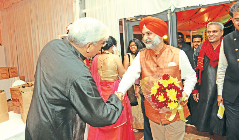 High Commissioner for India in Sri Lanka Taranjit Singh Sandhu being welcomed by officials at the event.