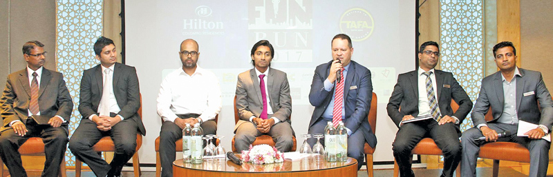 (From left to Right) BOC Card  Centre, Chief Manager, R. D. Wimalasena,TNL Radio, Dino Corera,  Bolt Gear, Shafraz Mansoor, TAFA Coaching, Founder, Thaabit Ahmed, Hilton Colombo Residences,General Manager,Karim Schadlou, Hilton Colombo Residences, Manager – Marketing, Thivanka Tennekoon, Hilton Colombo Residences, Manager – Sports and Recreation, Ranga Perera. Picture by Sulochana Gamage