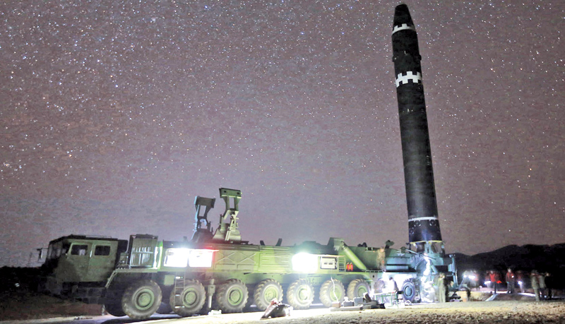 An image of what the North Korean government calls the Hwasong-15 intercontinental ballistic missile, in North Korea.