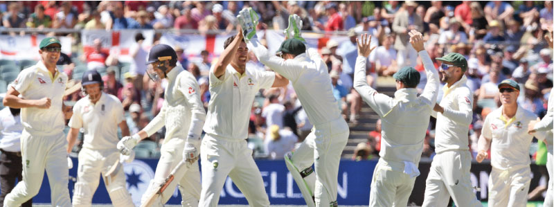 Australia's Mitchell Starc (4/L) is congratulated by teammates after dismissing England batsman Craig Overton (3/L). AFP