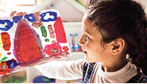 Children engaged in recreational  and creative activities