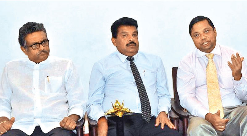 Chairman Dr. Ravi Liyanage, CEO Ganaka Amarasinghe and Director Dr. Sampath Amaratunga at the media conference. Picture by Thushara Fernando