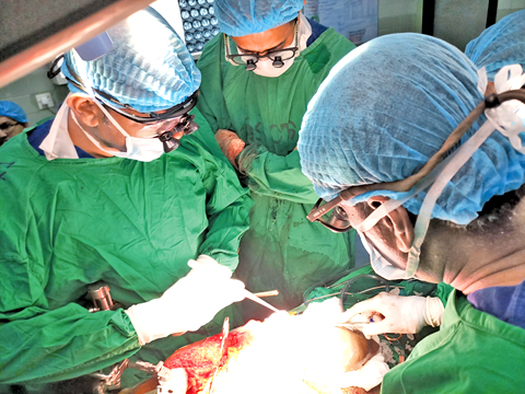 A surgery taking place.