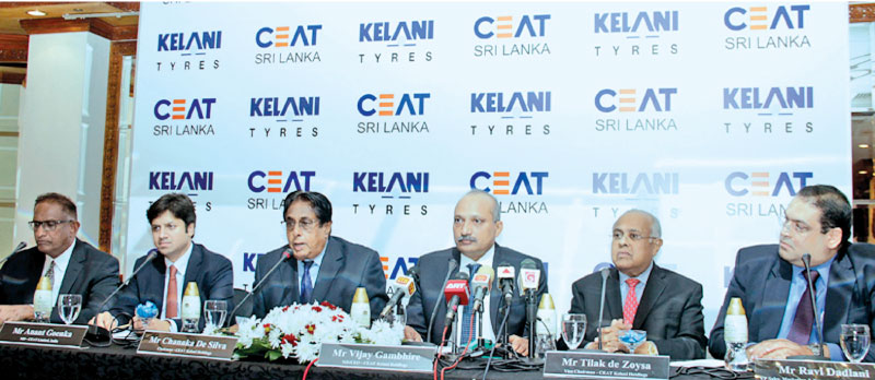Anant Goenka, MD CEAT Limited, India, Chanaka De Silva, Chairman CEAT Kelani Holdings, Vijay Gambhire, MD/CEO CEAT Kelani Holdings, Tilak de Zoysa, Vice President, CEAT Holdings, Ravi Dadlani, Vice President Sales, Marketing and Exports CEAT Kelani Holdings at the event. Picture by Saliya Rupasinghe