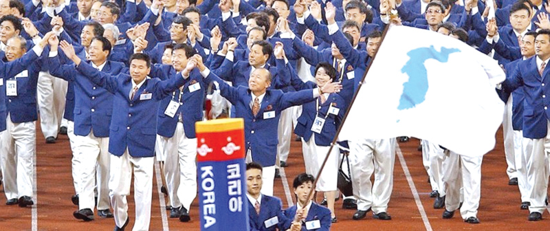 North and South Korea united in a moment of solidarity when the two sides marched together for the first time in the Sydney Olympics in 2000.