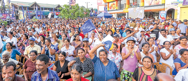 The large crowd that gathered in Gampaha. Pictures by President's Media Division