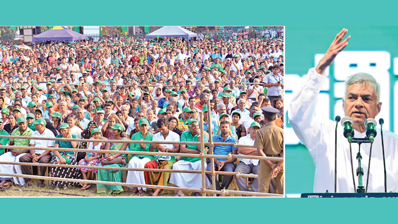 Prime Minister Ranil Wickremesinghe yesterday addressed an election rally in the Badulla city in support of the UNP candidates vying for the upcoming Local Government election. Ministers Harin Fernando and Akila Viraj Kariyawasam were present. Pictures by Hirantha Gunathilake
