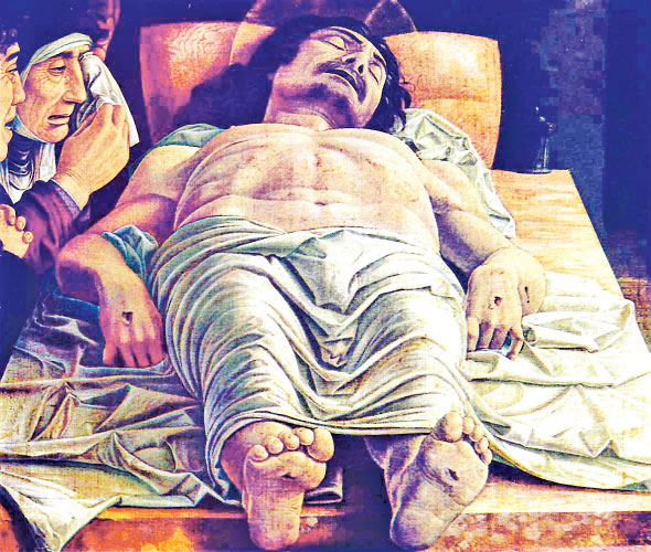 THE DEAD CHRIST, the painting by Andrea Mantegna that shook the world and brought every Christians down on their knees with repentance and guilt.