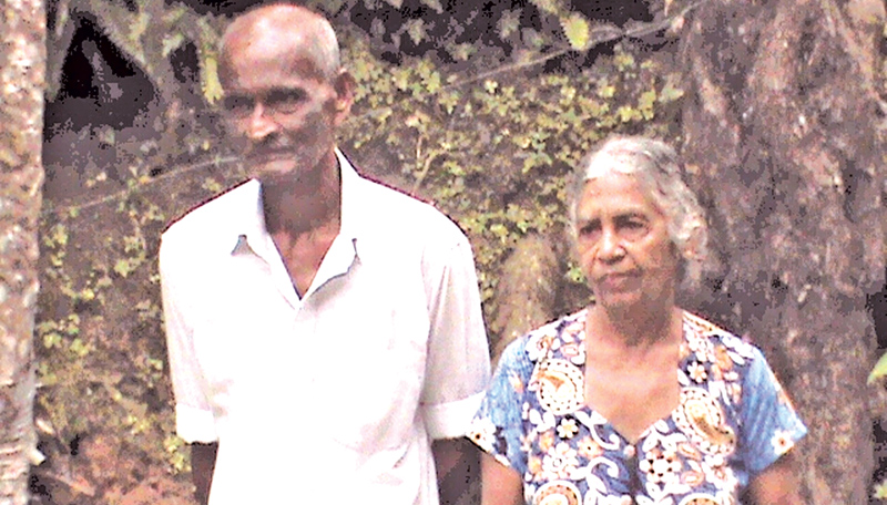 H. H. Liyanage of Akuressa, Paraduwa who is 79 years old with his wife