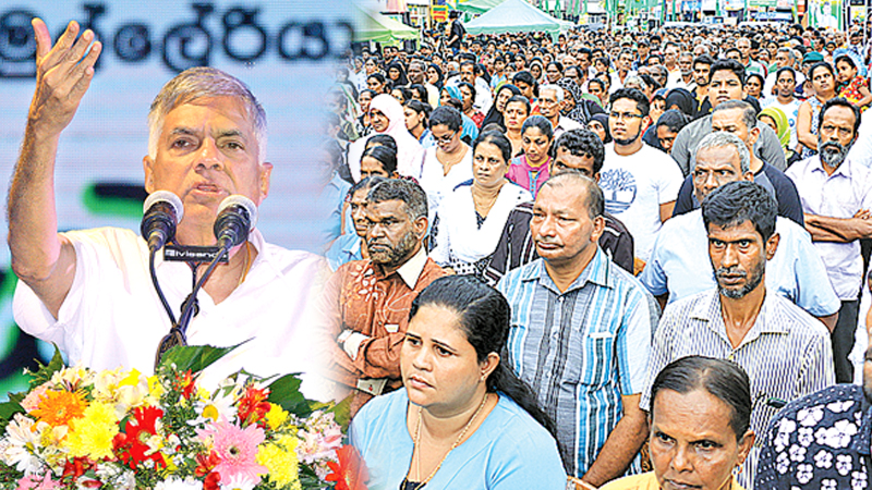 Prime Minister Ranil Wickremesinghe addressed a massive rally at Kollonnawa in support of candidates vying for the upcoming Local Government election from the United National Party on Monday.Pictures by Hirantha Gunathilake