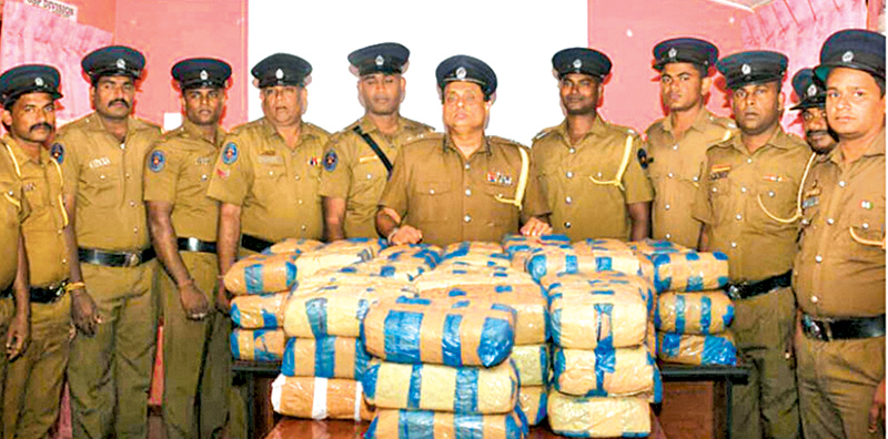 Mannar Police with the seized contraband