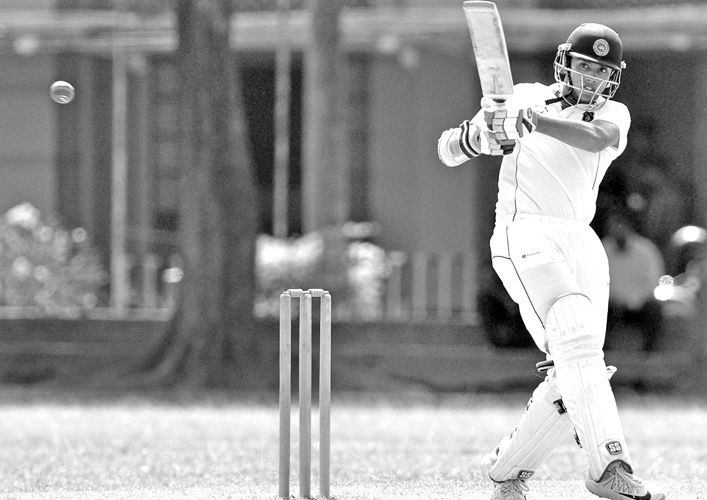 Josephian batsman Revan Kelly who reached 1000 runs for the season batting in the second innings of the school cricket match against St Anthony's College Katugastota played for the Vaas-Murali trophy at Darley Road yesterday. Kelly scored 63. (Pic by Susantha Wijegunasekera)