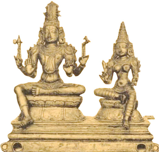 The Chola period bronze sculptures were divided into three main schools. They are the Aditya, the Sembiyan Mahadevi and Raja Raja schools. The Aditya Chola period existed from 875 A.D to 906 A.D and his son Parantaka whose period lasted from 906 A.D to 955 A.D. During their period, both of them built numerous majestic temples. At these temples, they installed beautiful bronze sculptures with perfect ornamental and costume decorations. Dancing image of Lord Siva is often seen in the form of Nataraja