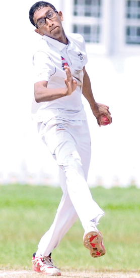 Thomian bowler Shannon Fernando who had a match bag of eight wickets for 73 to pilot them to victory over Limbini College in their Singer Trophy under 19 schools cricket match concluded at Mount Lavinia yesterday.   Picture by Susantha Wijegunasekara