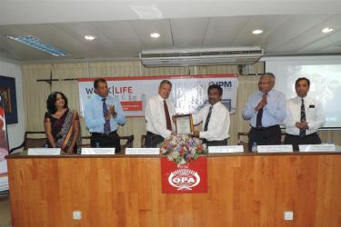 Ruchira Gunasekara, Vice President of OPA and Chairperson of the Seminars and Workshop Committee,  Ken Vijayakumar, Secretary of the Council, IPM SL, Prof. Ajantha Dharmasiri, President of the Council, IPM SL,  Ruwan Gallage, President of the OPA,  Lalith Wijetunge, President Elect of the OPA and Past President of IPM SL,  Rohitha Amarapala, Immediate Past President of IPM SL, Chairman of the External Affairs Committee of IPM SL.