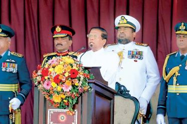 President Maithripala Sirisena addressing the nation on the 69th Independence Anniversary at the Galle Face on Saturday