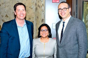 Nilakshi Parndigamage with Ezra Stiles College Head Stephen Pitti and Yale College Dean Jonathan Holloway.