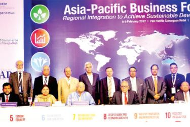 Minister of Industry and Commerce, Rishad Bathiudeen at the 2017 Asia Pacific Business Forum in Dhaka.