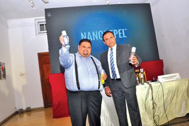 Malik Fernando, CEO / MD, Ecocorp Asia and Chathura Semaratne, COO / MD, Greenwich Capital Management launching Nanorepel products. Pictures by Thushara Fernando