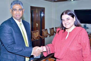 Minister Faiszer Musthapha meeting Indian Women and Child Development Minister Maneka Gandhi during his official visit to India.